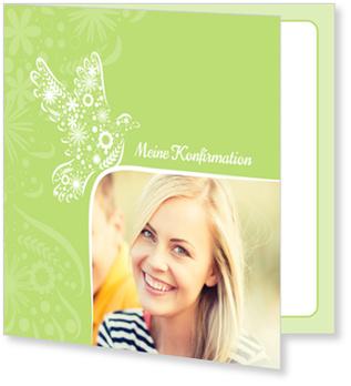 Einladungskarten Konfirmation, Taube auf Grün