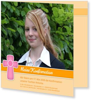 Einladungskarten Konfirmation, Kleines Kreuz in Pink