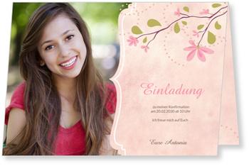 Einladungskarten Konfirmation, Magnolienzweig in Rosa