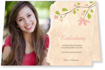 Einladungskarten Konfirmation, Magnolienzweig