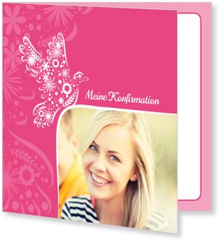 Einladungskarten Konfirmation, Taube auf Pink