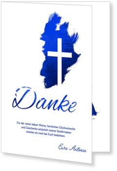 Danksagungskarten Konfirmation, Kreuz in Blau