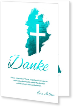 Danksagungskarten Konfirmation, Kreuz in Türkis