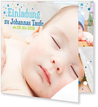 Einladungskarten Taufe, Bunte Pünktchen in Blau