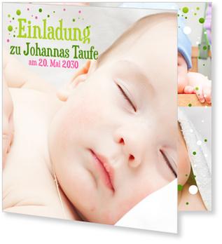 Einladungskarten Taufe, Bunte Pünktchen in Grün