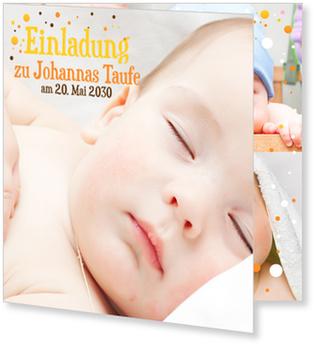 Einladungskarten Taufe, Bunte Pünktchen in Gelb