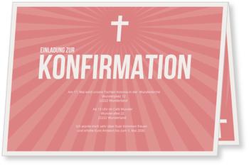 Einladungskarten Konfirmation, Strahlendes Kreuz in Lachs