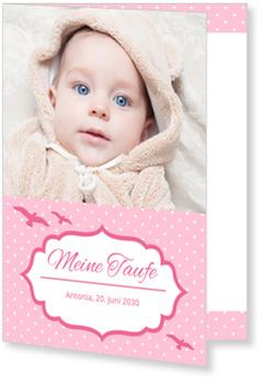 Einladungskarten Taufe, Möwen in Rosa