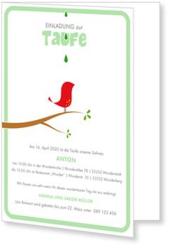 Einladungskarten Taufe, Kleines Vögelchen in Grün