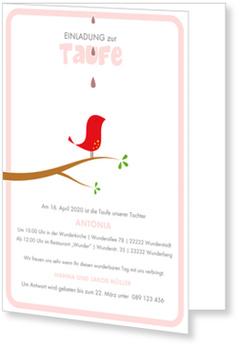 Einladungskarten Taufe, Kleines Vögelchen in Rosa