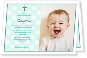 Einladungskarten Taufe, Zarte Karos