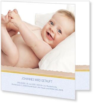 Einladungskarten Taufe, Unser Schatz wird getauft in Hellblau
