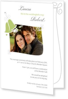 Photo Wedding Invitations for your Big Day, Wedding Bells Green