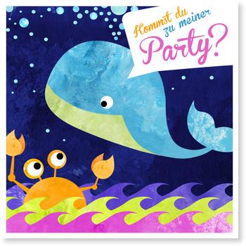 Einladungskarten Kindergeburtstag, Der kleine Wal feiert eine Party