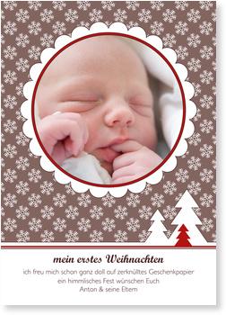 Weihnachtskarten Baby, Der erste Schnee