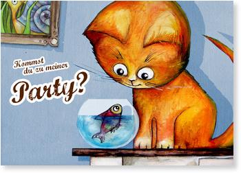 Einladungskarten Kindergeburtstag, Die kleine Katze möchte feiern