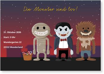 Einladungskarten Halloween , Die Monster sind los!