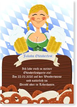 Einladungskarten Oktoberfest, Oktoberfest - Dirndl - Maid