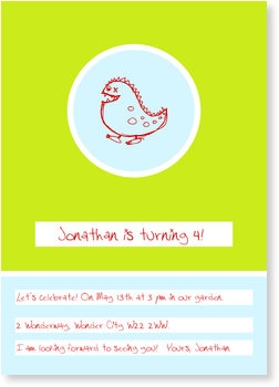 Birthday Invitations for your 1st - 111th Birthday, Little Dragon - Green