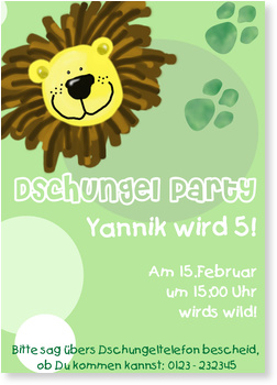 Einladungskarten Kindergeburtstag, Dschungelparty