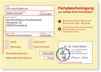 Einladungskarten 30. Geburtstag, Partybescheinigung