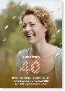 Einladungskarten 40. Geburtstag, einladung geburtstag vierzig konfetti regen