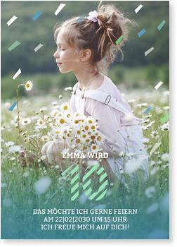 Einladungskarten Kindergeburtstag, Konfettiregen 10
