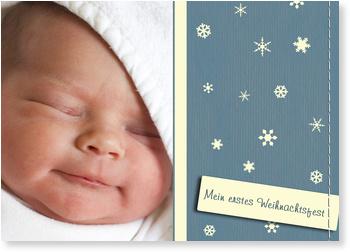Weihnachtskarten Baby, Erste Schneeflöcken - Blau