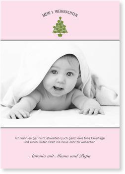 Weihnachtskarten Baby, Mein 1. Weihnachten - Rosa