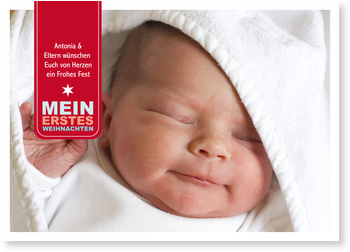 Weihnachtskarten Baby, Mein erstes Weihnachten - Label - Rot