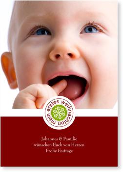 Weihnachtskarten Baby, 1. Weihnachten - Stempelchen - Weinrot