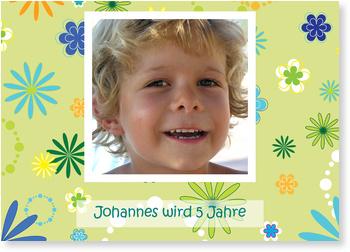 Einladungskarten Kindergeburtstag, Flower Power - Grün