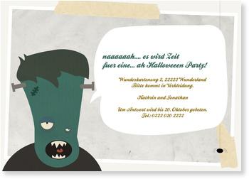 Einladungskarten Halloween , Frankensteins Monster