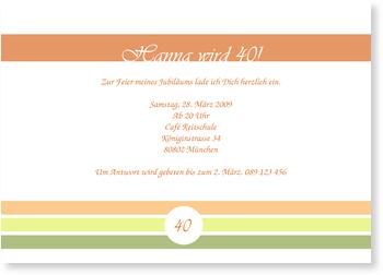 Einladungskarten 40. Geburtstag, Klassische Streifen unten