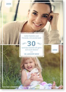 Einladungskarten 30. Geburtstag, Früher und Heute in Blau-Grau