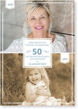 Einladungskarten 50. Geburtstag, Früher und Heute in Blau-Grau