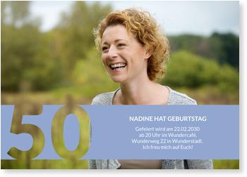 Einladungskarten 50. Geburtstag, Schablone in Hellblau