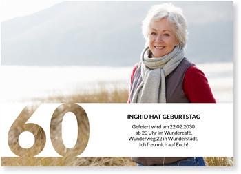 Einladungskarten 60. Geburtstag, Schablone