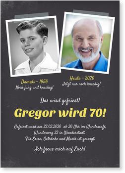 Einladungskarten 70. Geburtstag, Damals und Heute