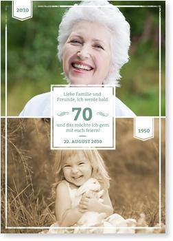 Einladungskarten 70. Geburtstag, Früher und Heute