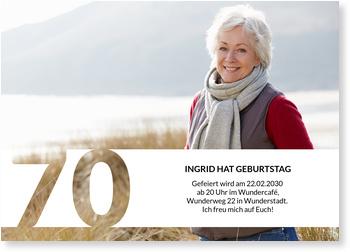Einladungskarten 70. Geburtstag, Schablone