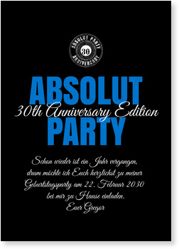 Einladungskarten Geburtstag, Absolut Party Schwarz