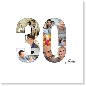 Einladungskarten 30. Geburtstag, Bildreiche Dreißig - Quadrat