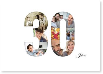Einladungskarten 30. Geburtstag, Bildreiche Dreißig