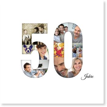 Einladungskarten 50. Geburtstag, Bildreiche Fünfzig - Quadrat
