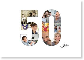 Einladungskarten 50. Geburtstag, Bildreiche Fünfzig