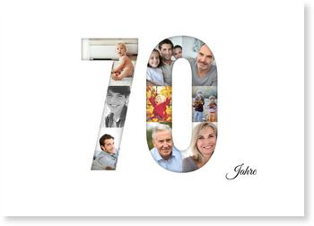 Einladungskarten 70. Geburtstag, Bildreiche Siebzig