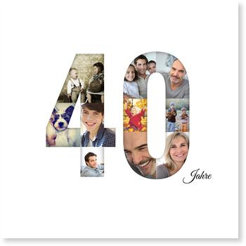 Einladungskarten 40. Geburtstag, Bildreiche Vierzig - Quadrat