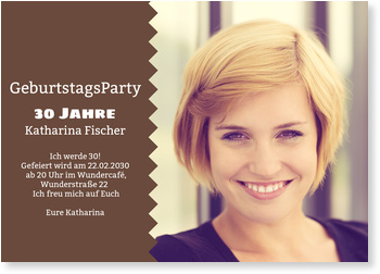 Einladungskarten Geburtstag, Bildzacken in Braun