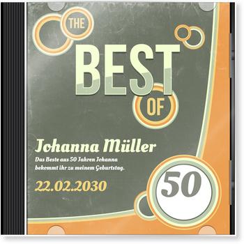 Einladungskarten 50. Geburtstag, CD-Cover Retro